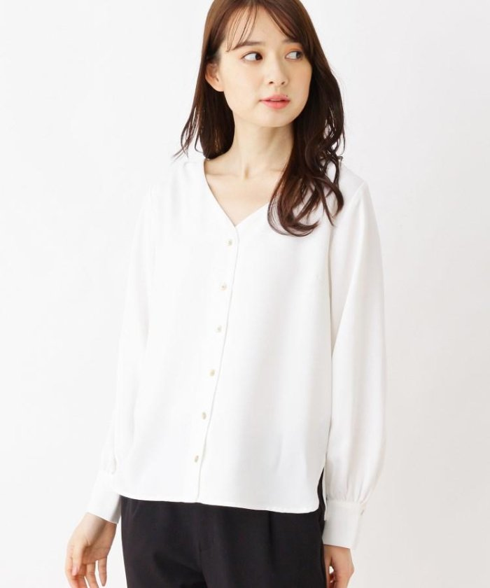 【洗濯機洗いOK】ジョーゼットVネックシャツ