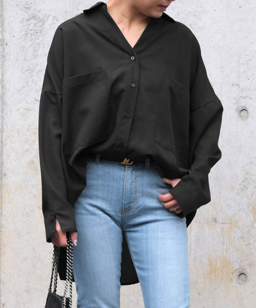 ANDJ(ANDJ(アンドジェイ))/リネン風BIGポケットオーバーサイズシャツ/tb79c04260