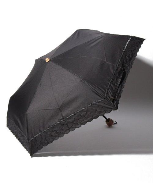 Afternoon Tea LIVING(アフタヌーンティー・リビング)/スカラップドット刺繍晴雨兼用折りたたみ傘 日傘/FY1319201505