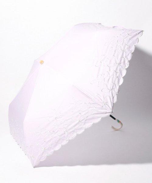 Afternoon Tea LIVING(アフタヌーンティー・リビング)/シャンブレーフラワー晴雨兼用折りたたみ傘 日傘/FY1519201517