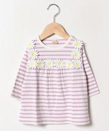 petit main/お花ヨークボーダーTシャツ/501938623