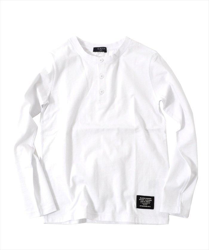 グラソス ヘンリーネック長袖Tシャツ レディース ホワイト 140cm 【GLAZOS】