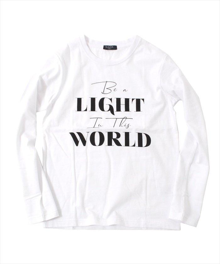 グラソス ロゴプリント長袖Tシャツ レディース ホワイト 150cm 【GLAZOS】