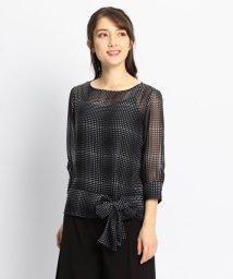 NARA CAMICIE/モノトーンプリント裾リボン七分袖ブラウス/501948709