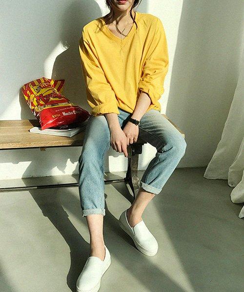 NANING9(ナンニング)/NANING9(ナンニング)Vネック長袖Tシャツ/ng-19t-030-z