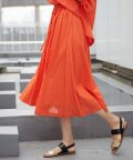 MICHEL KLEIN/【InRed5月号掲載】【洗える】コットンシフォンストライプギャザースカート/501950473