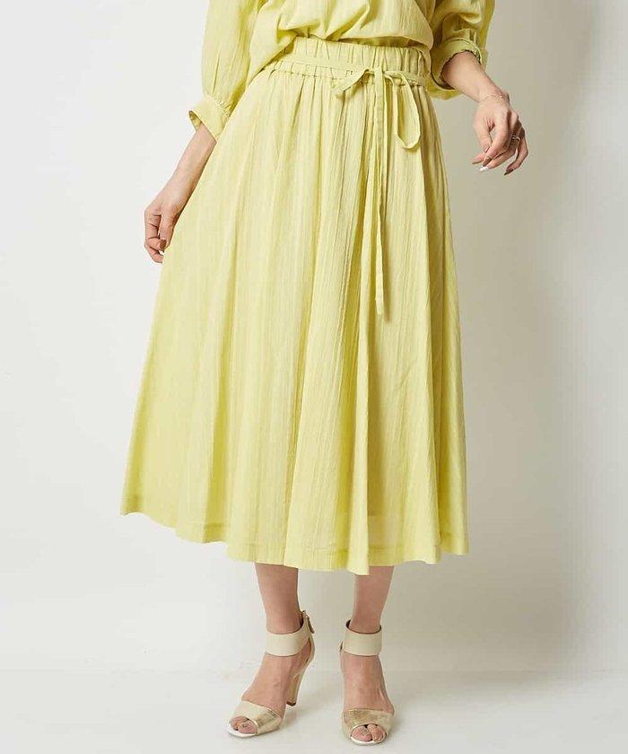【InRed5月号掲載】【洗える】コットンシフォンストライプギャザースカート