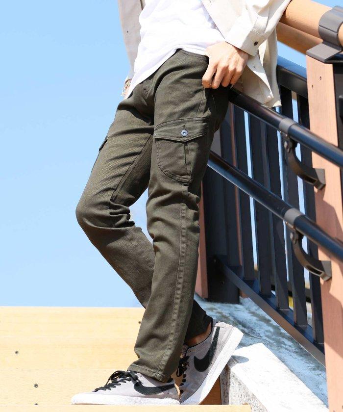 【5%OFF】ジギーズショップストレッチツイルカーゴパンツ / カーゴパンツ メンズ ミリタリー ワークパンツ ボトムス 細身メンズカーキL【JIGGYS SHOP】【タイムセール開催中】