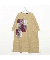 KANKAN/カンカン KANKAN パッチ刺繍コットンドレス (ベージュ)/501953053