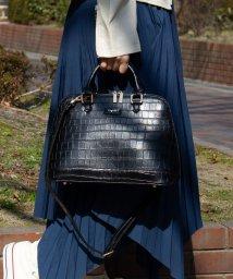 UNGRID bag/スカーフ付クロコ風型押しボストンバッグ Mサイズ/501937319