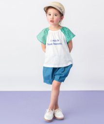 petit main/袖花柄ロゴTシャツ/501945306