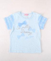 KISS DROP/【カタログ掲載】タック天竺リボンロゴプリントTシャツ/501953514