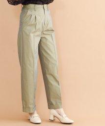 merlot plus/偏光沢センタープレスワイドタックパンツ/501954465