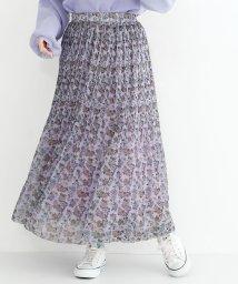 merlot/フラワーシフォンプリーツスカート/501954590