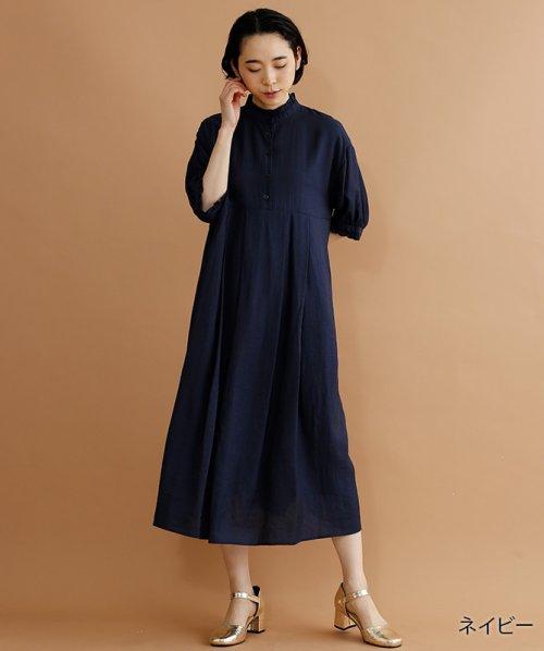 merlot(メルロー)/【plus】レーヨン混バルーンスリーブフリル襟ワンピース/00010012-878210007572