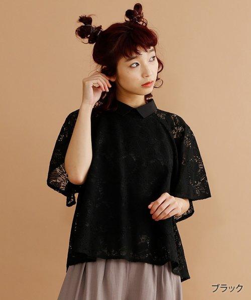 merlot(メルロー)/【plus】襟付き総レースブラウス/00010012-878210007584