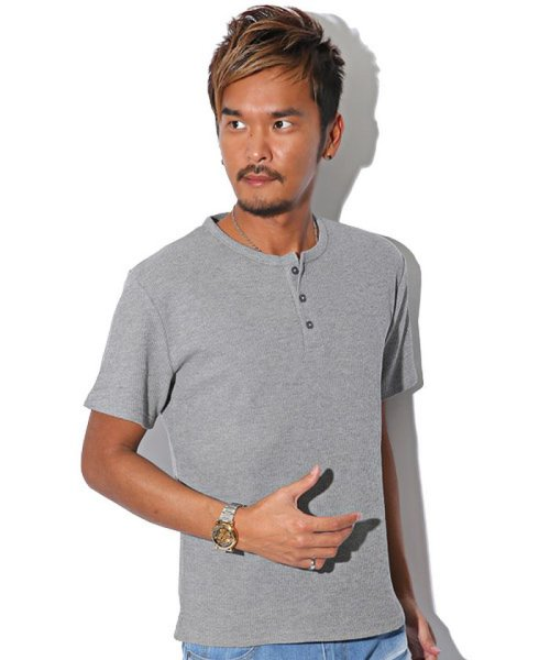 LUXSTYLE(ラグスタイル)/ミニワッフル素材ヘンリーネックTシャツ/pm-5955