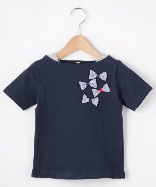 HusHush(Kids)(ハッシュアッシュ(キッズ))/【90-150cm】立体リボンフェイクレイヤードTシャツ/20190151216036