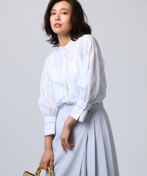 UNTITLED(アンタイトル)/[L]袖ギャザーバンドカラーシャツ/20190115386963
