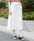 MICHEL KLEIN/【洗える】ドライオックスストライプフレアスカート/501935333