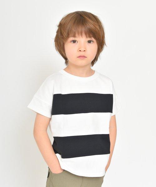branshes(ブランシェス)/ワイドボーダー切替半袖Tシャツ(90~150cm)/119206393