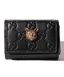 GUCCI/【GUCCI】3つ折り財布 / LINEA CAT 【NERO/CYSTAL】/501936064