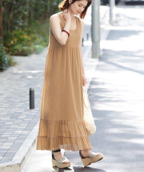 ROPE' mademoiselle(ロペ マドモアゼル)/楊柳ティアードノースリーブワンピース/GWE49100
