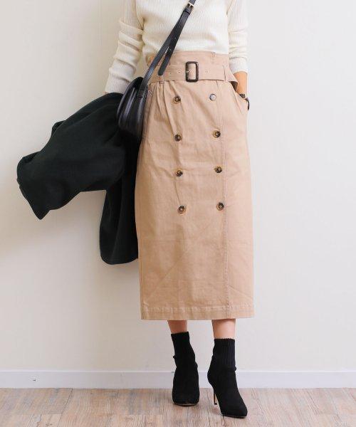 and Me...(アンドミー)/【H-9】ツイル タイトスカート 前ボタン ロングスカート/1000572