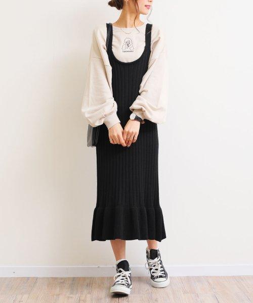 and Me...(アンドミー)/【G-8】リブニット キャミ ワンピース 裾フリル/6001157