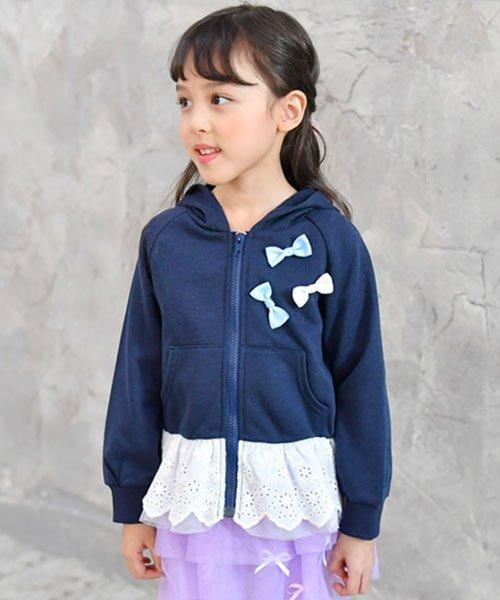 子供服Bee(子供服Bee)/レース切替え胸リボンパーカー/taa05167