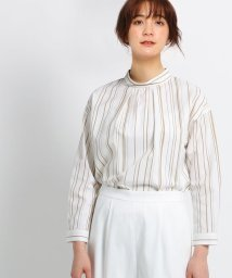 INDIVI/【マシンウォッシュ/UV/接触冷感】シルキーストライプ  スタンドカラーシャツ/501621345