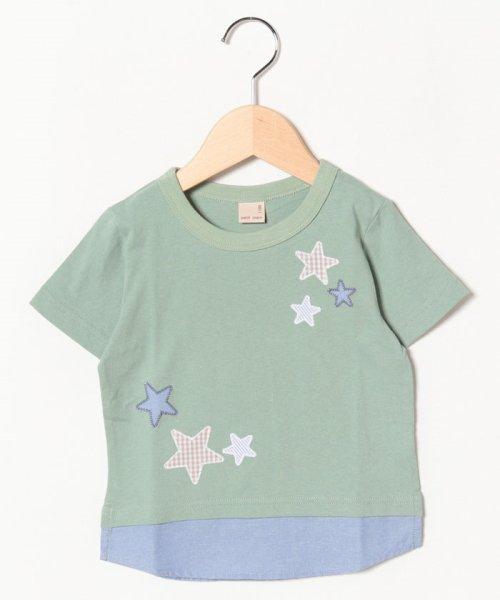 petit main(プティマイン)/星アップリケ裾シャツレイヤード風Tシャツ/9591232