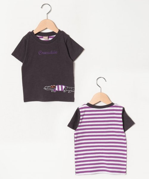 petit main(プティマイン)/ワニアップリケ後ろボーダーTシャツ/9591233