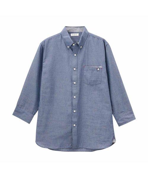 MAC HOUSE(men)(マックハウス(メンズ))/Free Nature Linen ボーダーポケット付きシャツ 391104MH/01215100112