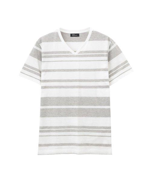 MAC HOUSE(men)(マックハウス(メンズ))/Real Standard マルチボーダーVネックTシャツ 92-7205P-KJ/01222100718