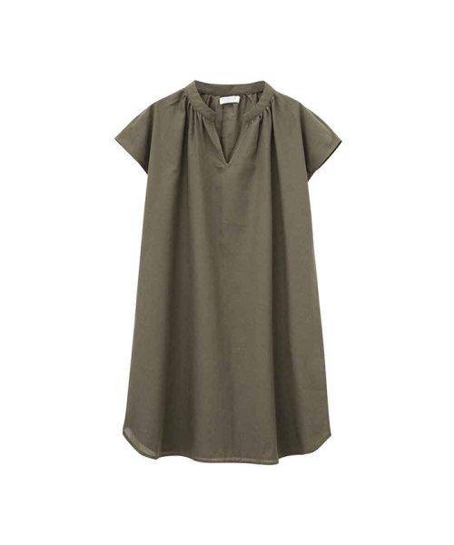 MAC HOUSE(women)(マックハウス(レディース))/Free Nature Linen 半袖ワンピース 391503MH/02212601661