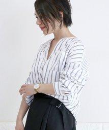 FUNNY COMPANY+/ストライプ裾タックスキッパーシャツ /501956775