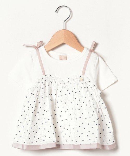 petit main(プティマイン)/ドットキャミドッキングTシャツ/9691256