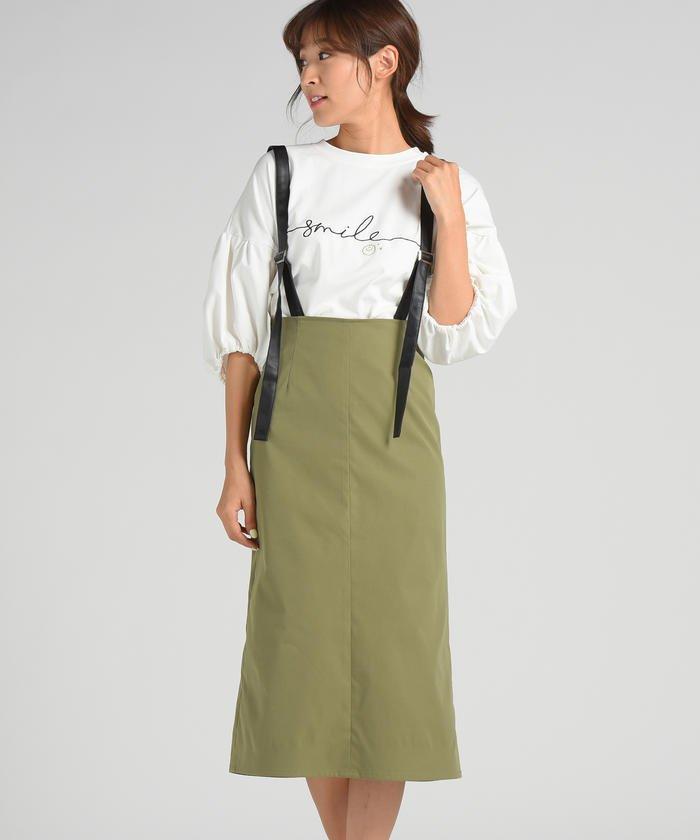 【socolla】COTTON LIKE TWILL サスペンダースカート