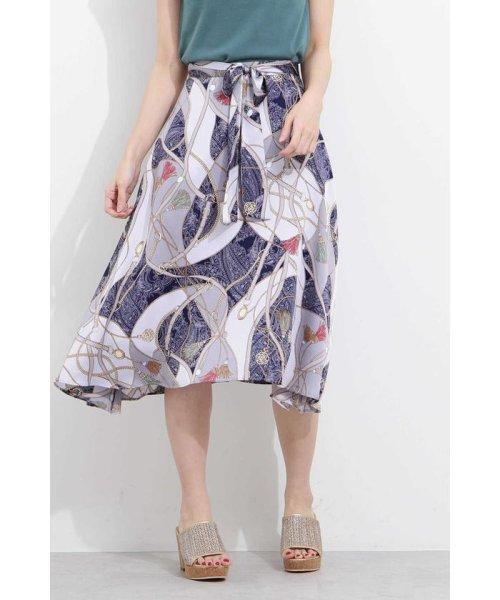 PROPORTION BODY DRESSING(プロポーション ボディドレッシング)/スカーフプリントイレヘムスカート/1219120906