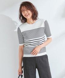 NIJYUSANKU/【マガジン掲載】ドライコットン ランダムボーダークルーネックニット/501978186