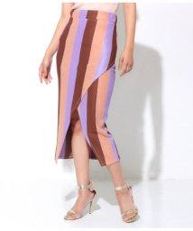 Settimissimo/マルチカラーストライプフロントオープンタイトスカート/501978306