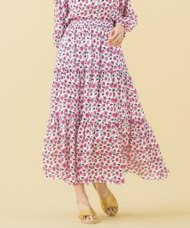 KUMIKYOKU/【洗える】Erica フラワープリント ティアード スカート/501978320