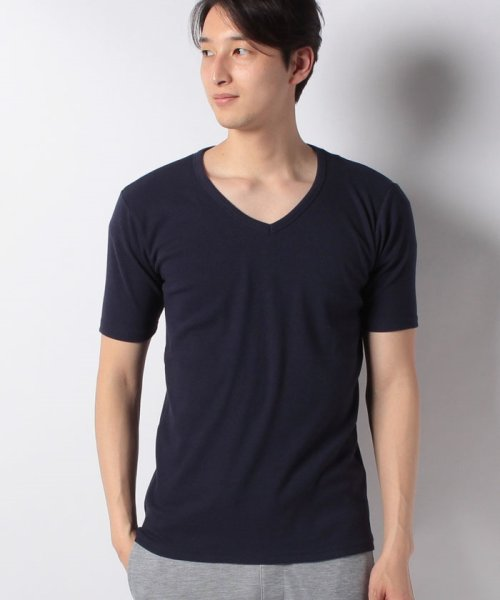 JNSJNM(ジーンズメイト メンズ)/【BLUE STANDARD】リブVネックTシャツ/205297031