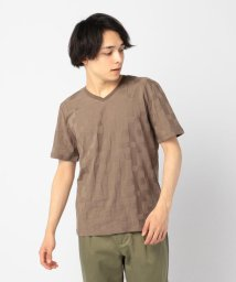 GLOSTER/リンクス幾何学VネックTシャツ/501964701