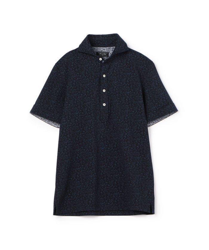 メンズビギ フラワープリント鹿の子ポロシャツ メンズ ネイビー S 【Men's Bigi】