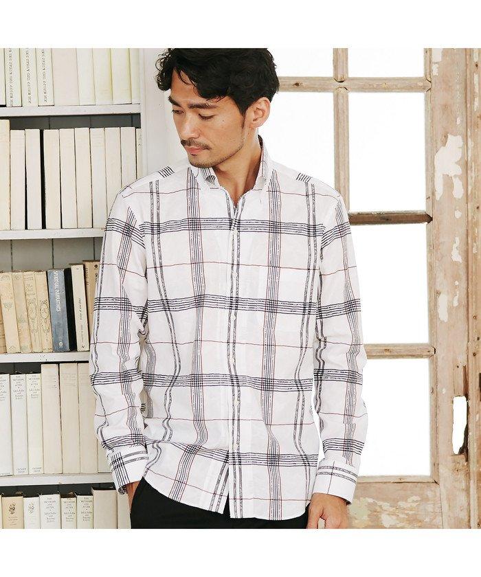 メンズビギボタニカルジャガードチェックシャツメンズホワイトLL【Men's Bigi】
