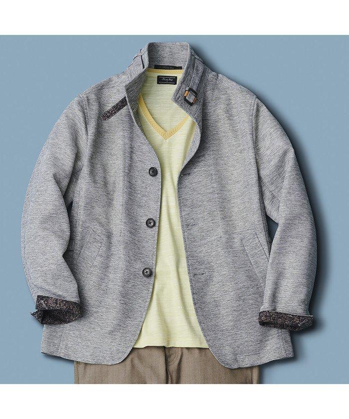 メンズビギカラミ織りドライビングジャケットメンズライトグレーLL【Men's Bigi】