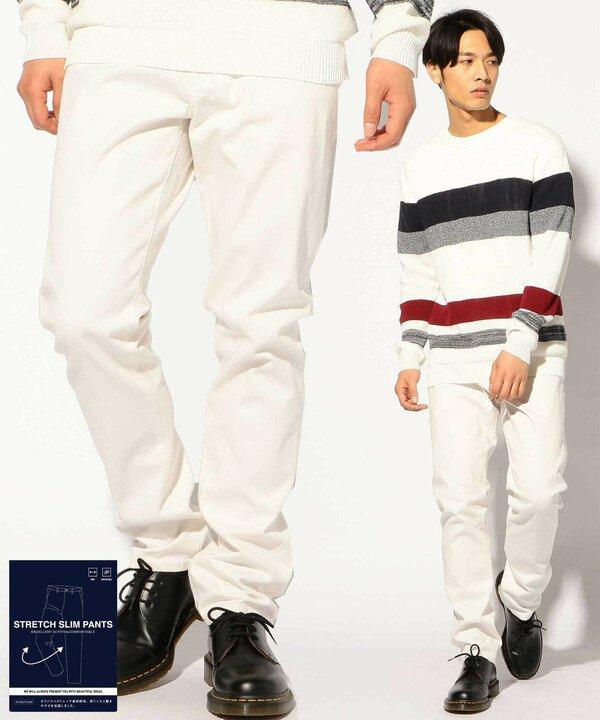 メンズビギ ストレッチ5ポケットチノパン メンズ ホワイト L 【Men's Bigi】