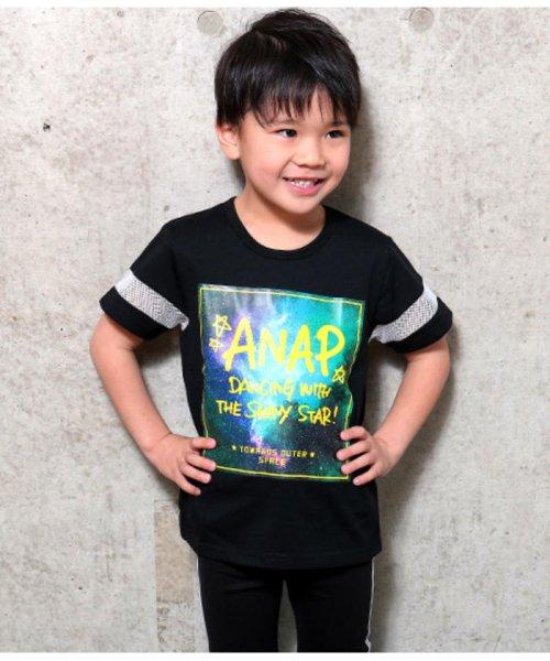 ANAP KIDS(アナップキッズ)/メッシュライン宇宙柄プリントTシャツ/0437800017
